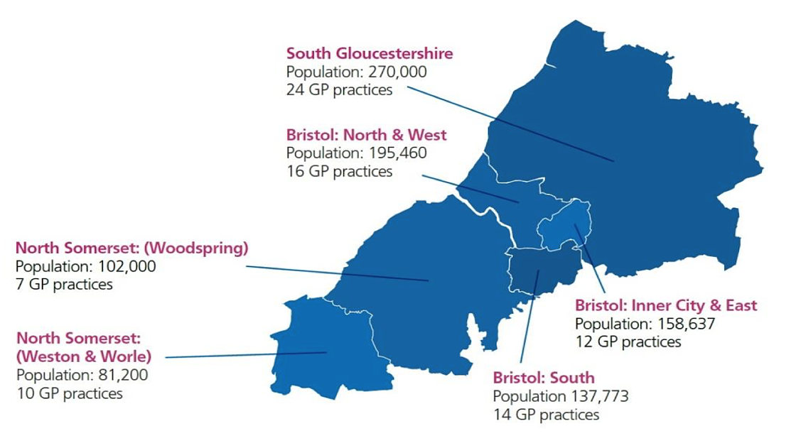 Image showing how the Bristol, North Somerset and South Gloucestershire area is split into six integrated care partnership areas.